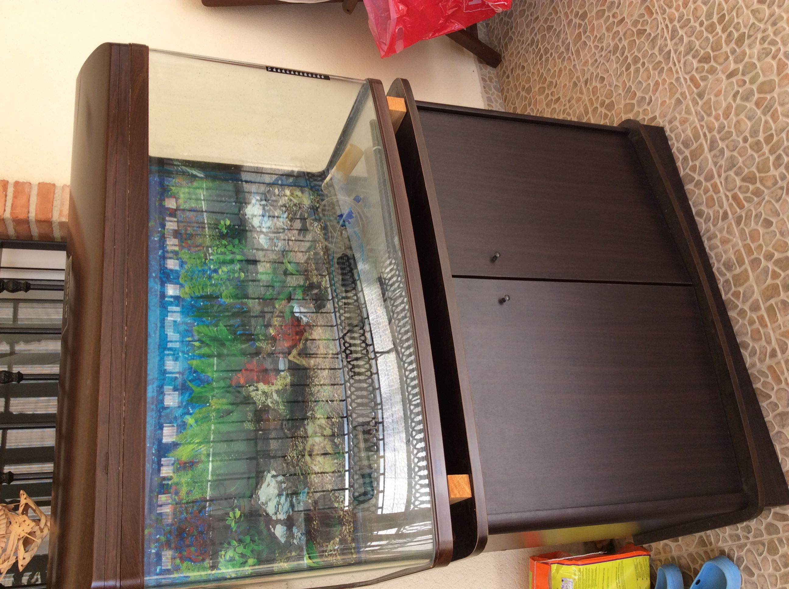 Fish tank glass for sale - For Sale Large Fish Tank With Bowed Glass Cabinet