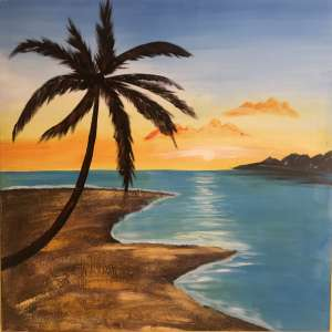 For sale: Large Tropical Beach Painting NOW SOLD - €15