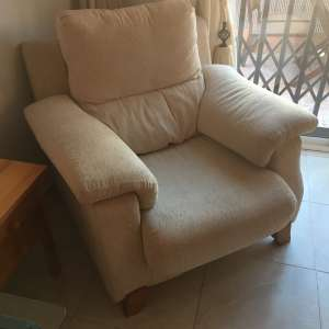 For sale: Cream 3 seater sofa and armchair - €100