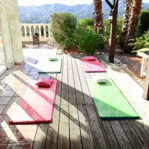 Hatha yoga on my terrace in english and german. Small classes or individual lessons. For beginner and advanced! Ayurvedic influenced.