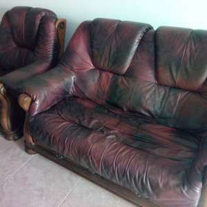 For sale: Leather single seat and two seater sofa - €70