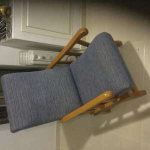 For sale: Blue cloth fabric chairs with rocker action