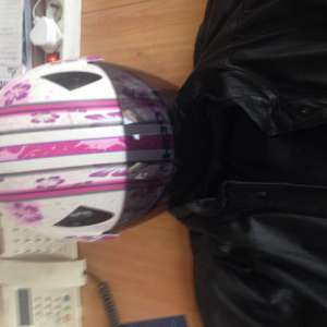For sale: Ladies motor cycle helmet  and leather jacket - €25