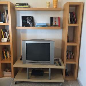 For sale: 5 items - 2 open bookcases, 2 shelfs and 1 TV rack on rolls - €90