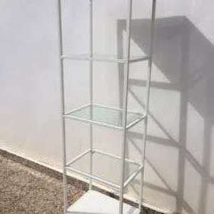 For sale: Ikea White metal & glass shelf unit - €30