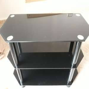 For sale: THREE TIER BLACK GLASS/CHROME TV TABLE/STAND - €20
