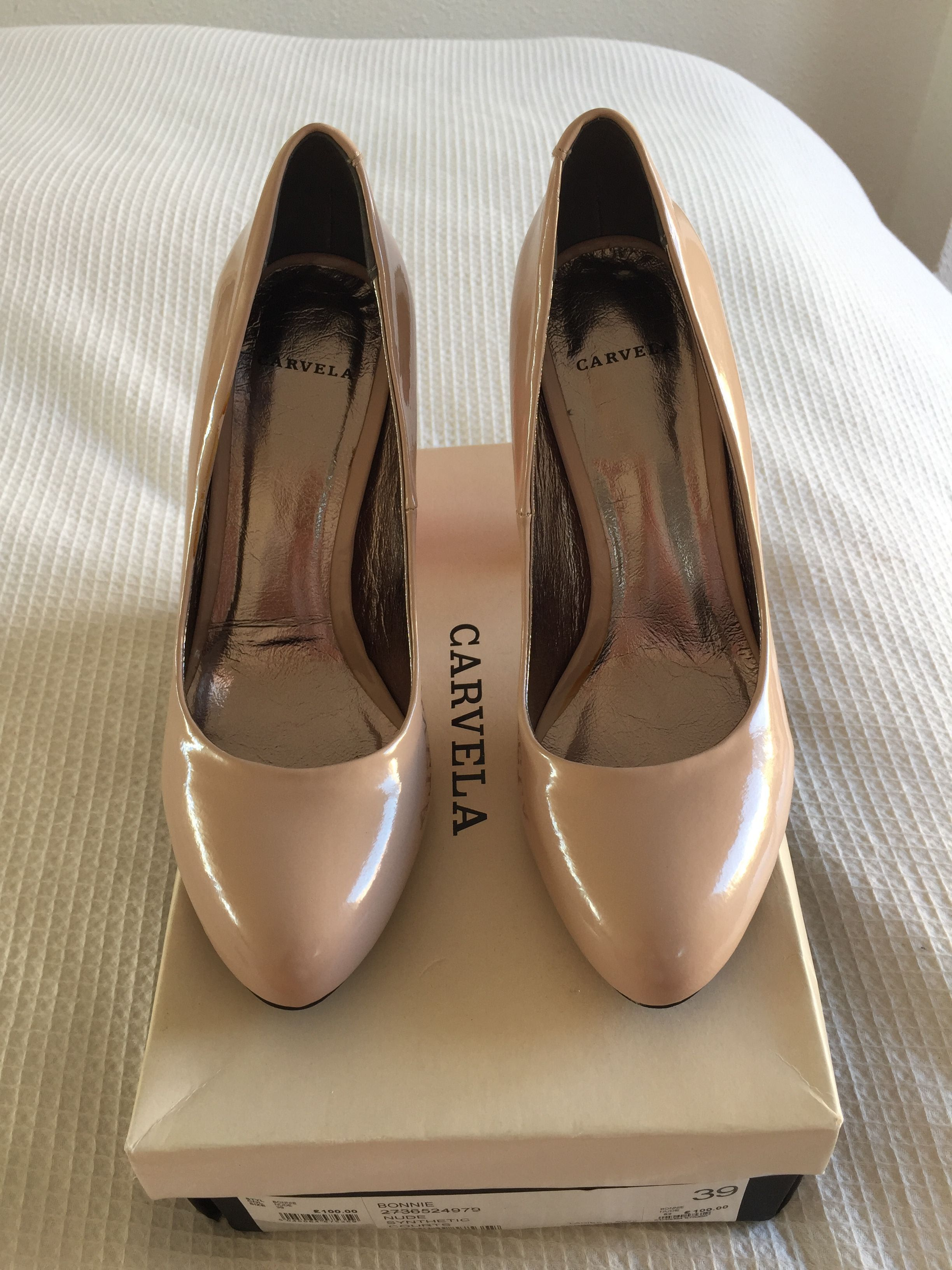 For sale: Carvela nude colour block heels. Brand new in box.
