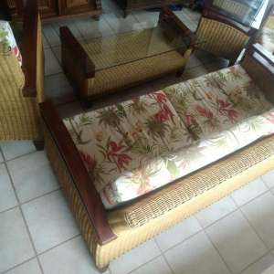 For sale: set of  3-seat sofa, 2 armchairs, 2 coffee tables - €350