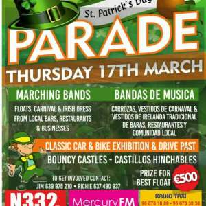 St Patricks Day Parade on Thursday 17th March 2016 in Cabo Roig