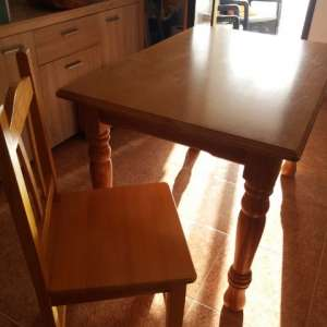 For sale: Honey pine table 4 chairs ex con - €100