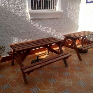 For sale: 2 X solid wood, strong garden bench tables! - €38