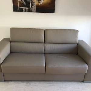 For sale: leather 2 seater sofa bed