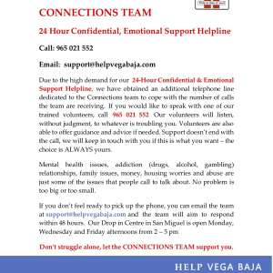 HELP Vega Baja - CONNECTIONS TEAM, 24 hour Confidential & Emotional Support Helpline 965 021 552